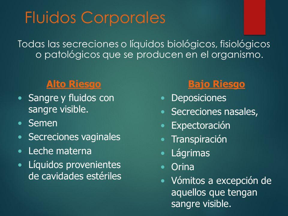 Fluidos Corporales Todas las secreciones o líquidos biológicos, fisiológicos o patológicos que se producen en el organismo.