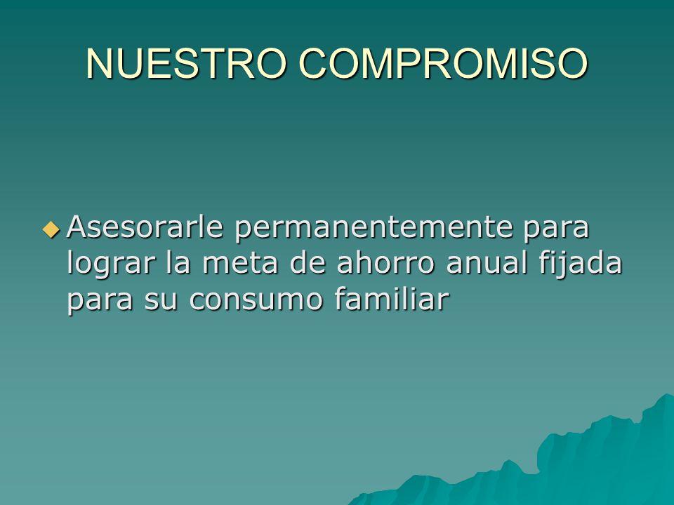 NUESTRO COMPROMISO  Asesorarle permanentemente para lograr la meta de ahorro anual fijada para su consumo familiar