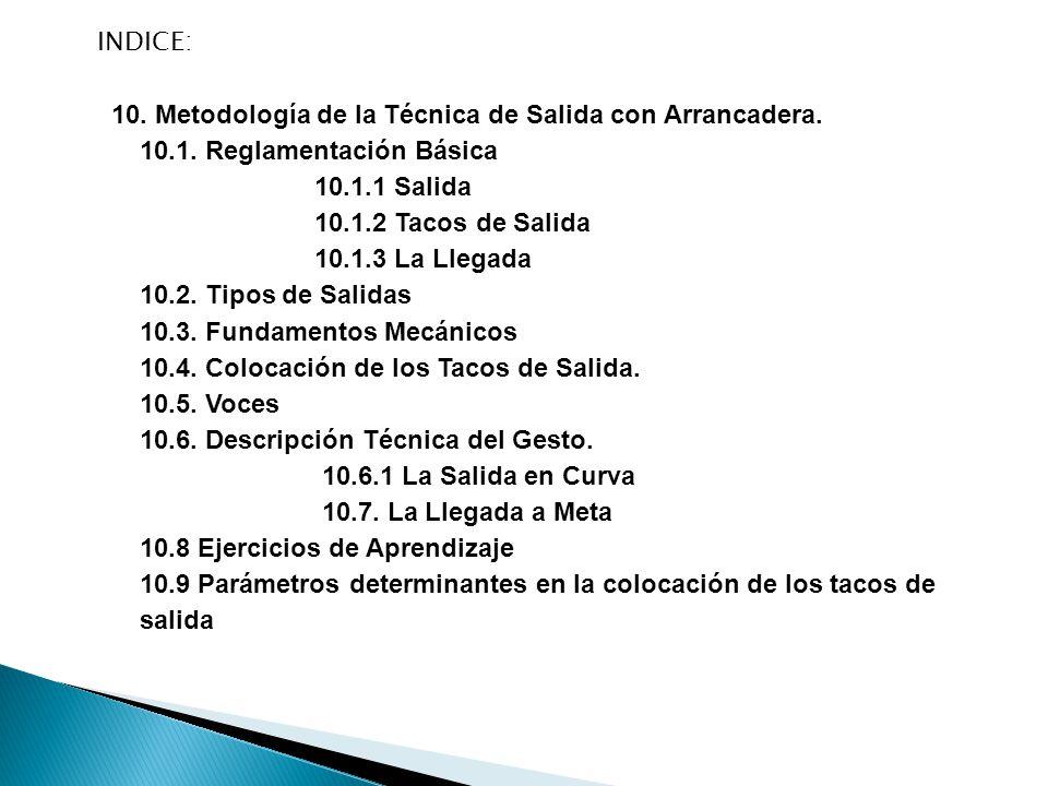 10.METODOLOGÍA DE LA TÉCNICA DE SALIDA CON ARRANCADERA.