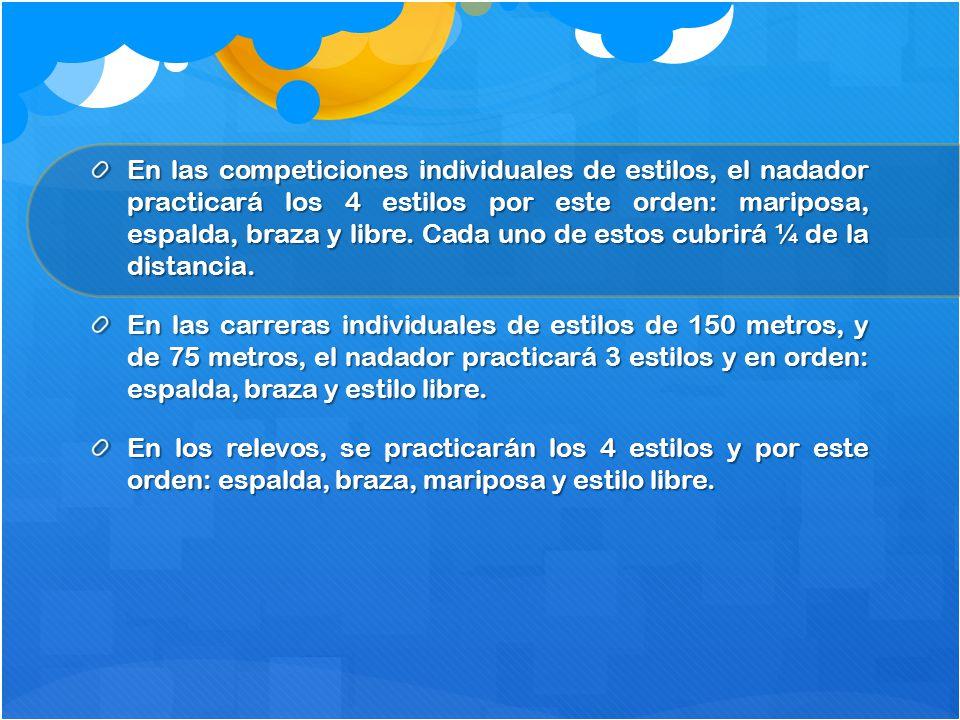 En las competiciones individuales de estilos, el nadador practicará los 4 estilos por este orden: mariposa, espalda, braza y libre. Cada uno de estos