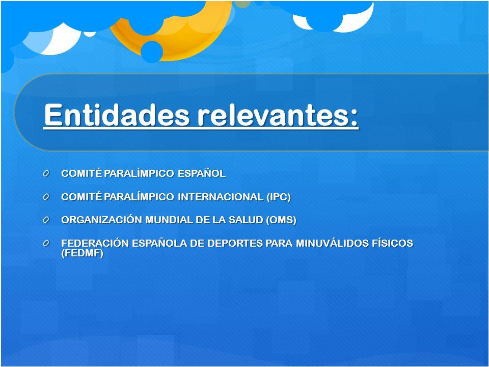 Entidades relevantes: Entidades relevantes: COMITÉ PARALÍMPICO ESPAÑOL COMITÉ PARALÍMPICO INTERNACIONAL (IPC) ORGANIZACIÓN MUNDIAL DE LA SALUD (OMS) F