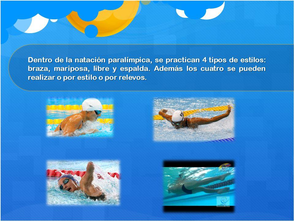 Dentro de la natación paralímpica, se practican 4 tipos de estilos: braza, mariposa, libre y espalda. Además los cuatro se pueden realizar o por estil