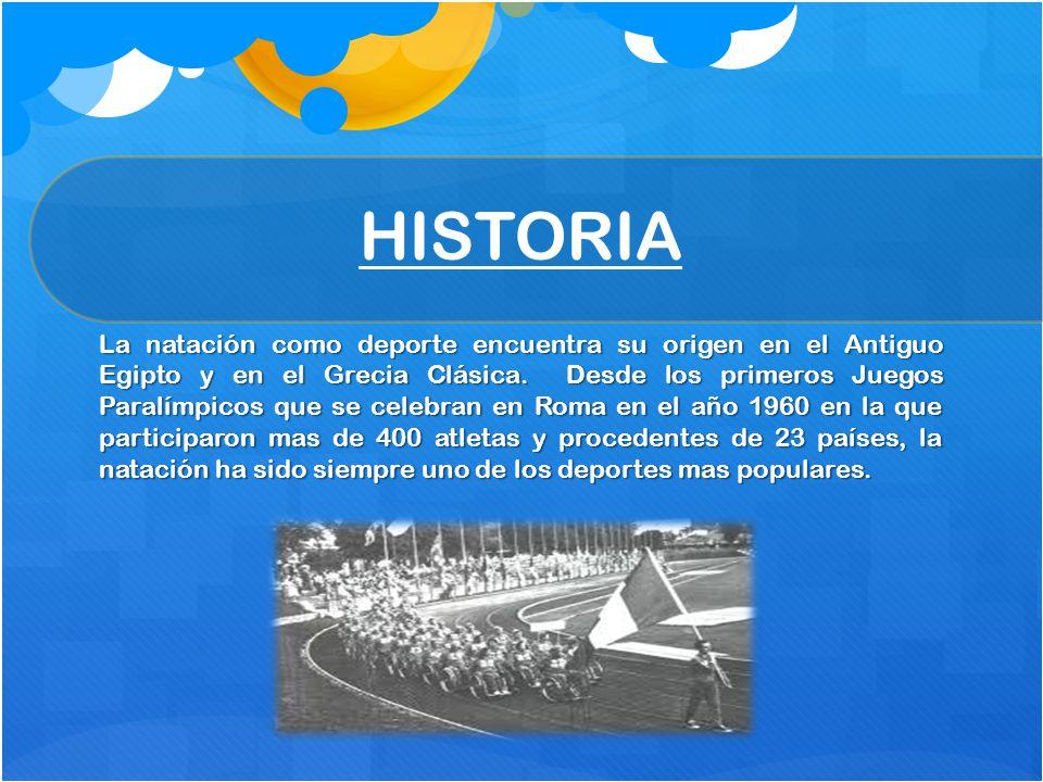 HISTORIA La natación como deporte encuentra su origen en el Antiguo Egipto y en el Grecia Clásica. Desde los primeros Juegos Paralímpicos que se celeb