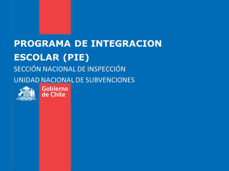 PROGRAMA DE INTEGRACION ESCOLAR (PIE) SECCIÓN NACIONAL DE INSPECCIÓN UNIDAD NACIONAL DE SUBVENCIONES
