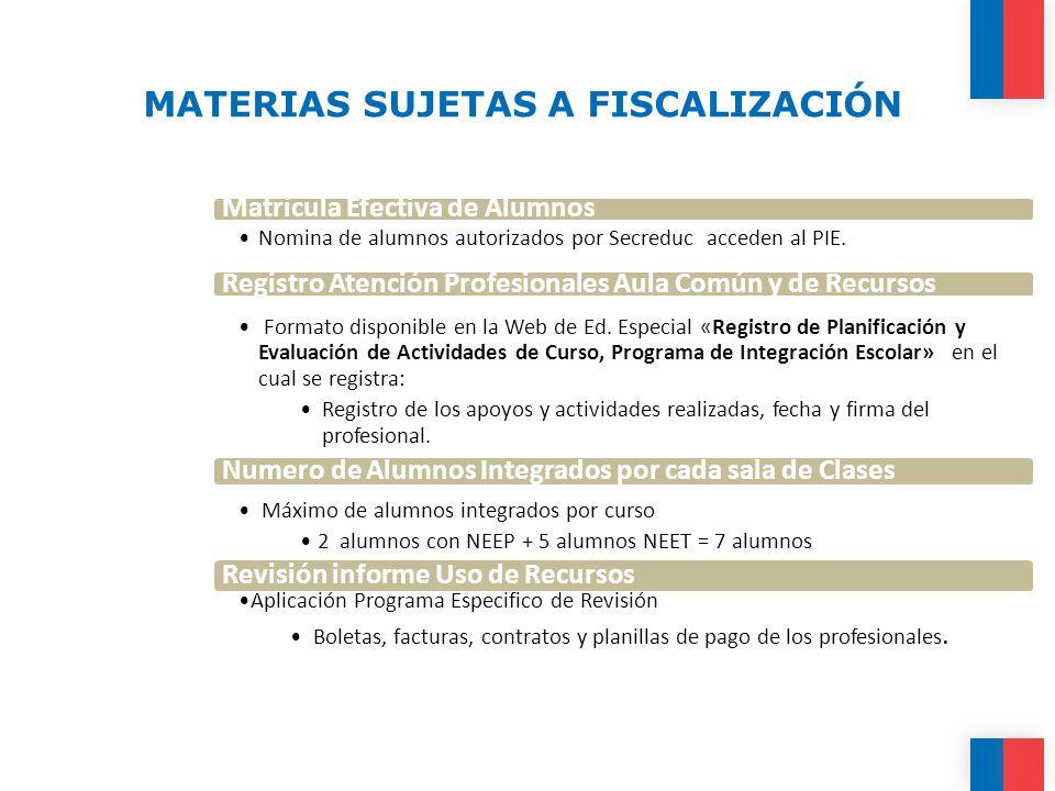 MATERIAS SUJETAS A FISCALIZACIÓN Matricula Efectiva de Alumnos Nomina de alumnos autorizados por Secreduc acceden al PIE.