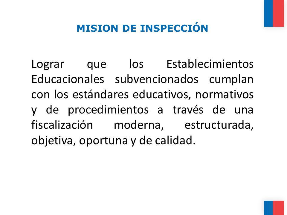MISION DE INSPECCIÓN Lograr que los Establecimientos Educacionales subvencionados cumplan con los estándares educativos, normativos y de procedimientos a través de una fiscalización moderna, estructurada, objetiva, oportuna y de calidad.