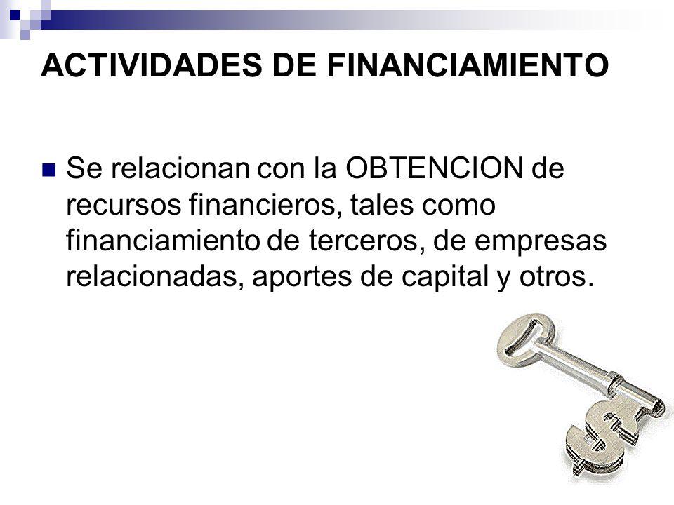 ACTIVIDADES DE FINANCIAMIENTO Se relacionan con la OBTENCION de recursos financieros, tales como financiamiento de terceros, de empresas relacionadas,