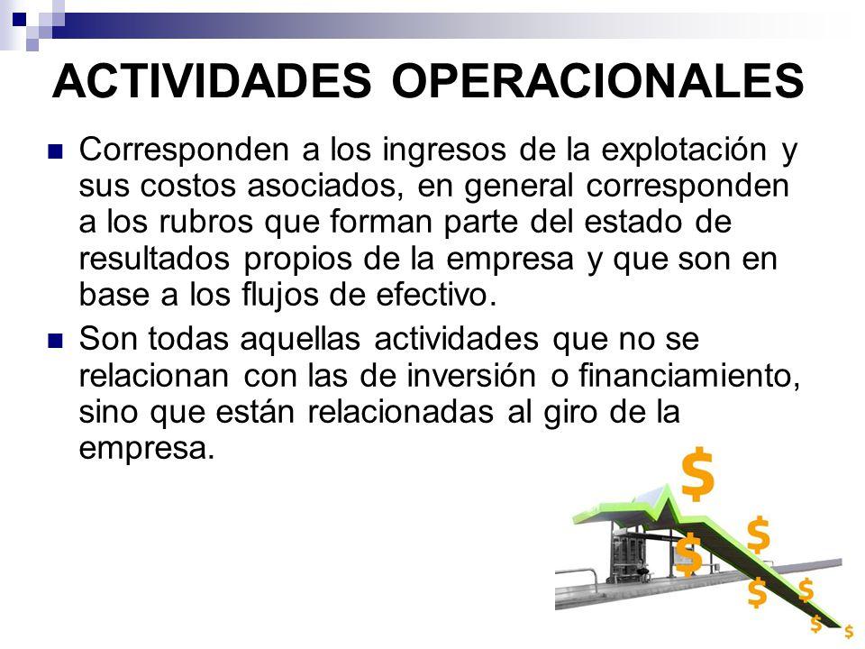 ACTIVIDADES OPERACIONALES Corresponden a los ingresos de la explotación y sus costos asociados, en general corresponden a los rubros que forman parte