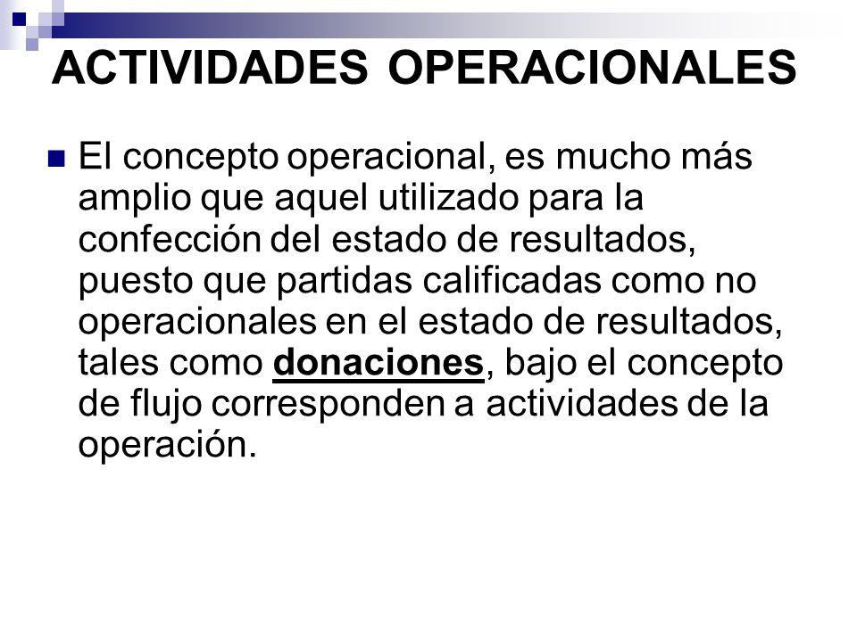 ACTIVIDADES OPERACIONALES El concepto operacional, es mucho más amplio que aquel utilizado para la confección del estado de resultados, puesto que par