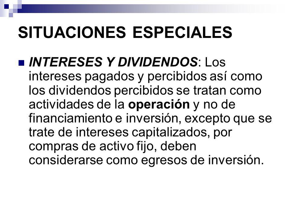 SITUACIONES ESPECIALES INTERESES Y DIVIDENDOS: Los intereses pagados y percibidos así como los dividendos percibidos se tratan como actividades de la