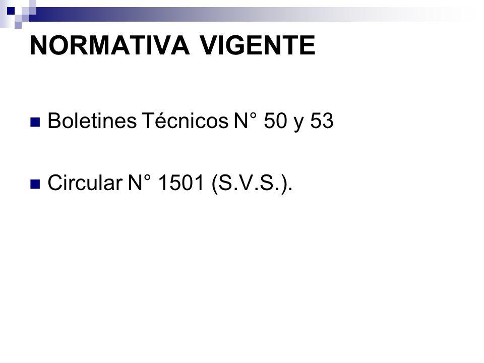 NORMATIVA VIGENTE Boletines Técnicos N° 50 y 53 Circular N° 1501 (S.V.S.).
