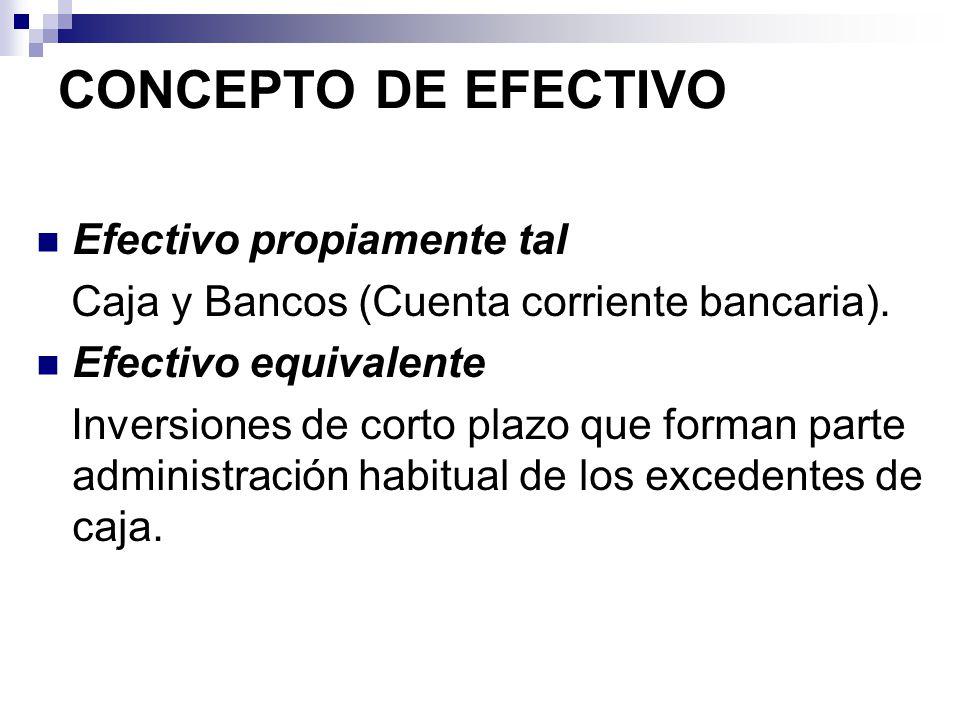 CONCEPTO DE EFECTIVO Efectivo propiamente tal Caja y Bancos (Cuenta corriente bancaria). Efectivo equivalente Inversiones de corto plazo que forman pa