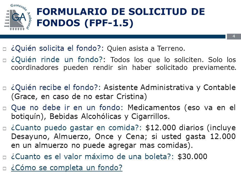 FORMULARIO DE SOLICITUD DE FONDOS (FPF-1.5) 4  ¿Quién solicita el fondo : Quien asista a Terreno.