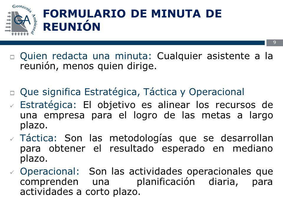 10  Como se completa un formulario Minuta de Reunión FMR-1.2 FMR-1.2 Una minuta es un resumen coherente de los temas tratados de una reunión.