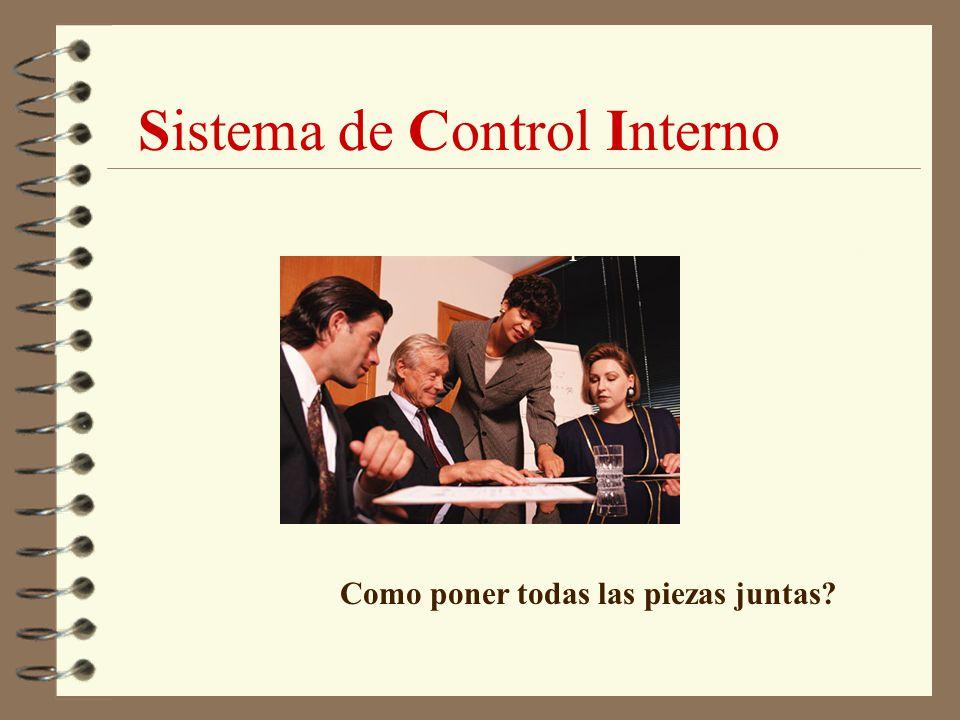 Sistema de Control Interno Un proceso diseñado para proveer una razonable seguridad de que los objetivos se cumplan, en lo concerniente a: 4 efectividad y eficiencia de las operaciones; 4 confiabilidad en los reportes; 4 salvaguarda de los activos; 4 cumplimiento de las leyes y regulaciones y convenios