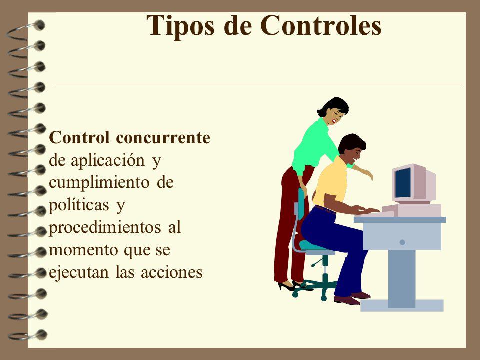 Tipos de Controles Control concurrente de aplicación y cumplimiento de políticas y procedimientos al momento que se ejecutan las acciones