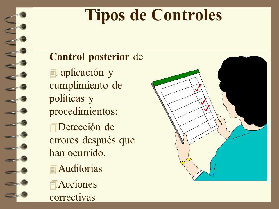 Tipos de Controles Control posterior de 4 aplicación y cumplimiento de políticas y procedimientos: 4 Detección de errores después que han ocurrido.
