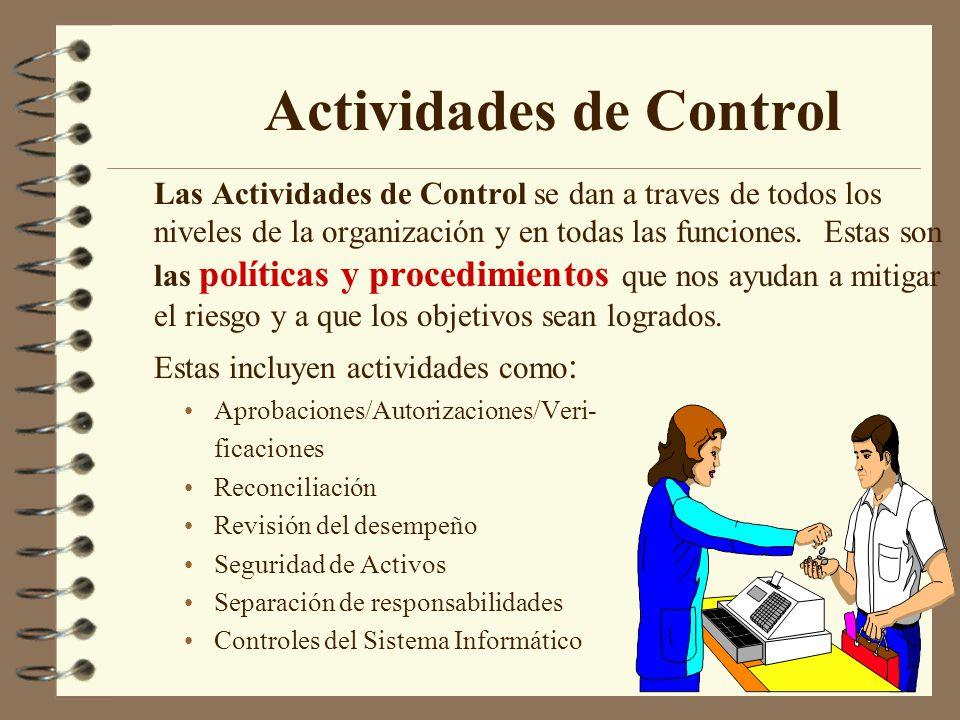 Las Actividades de Control se dan a traves de todos los niveles de la organización y en todas las funciones.