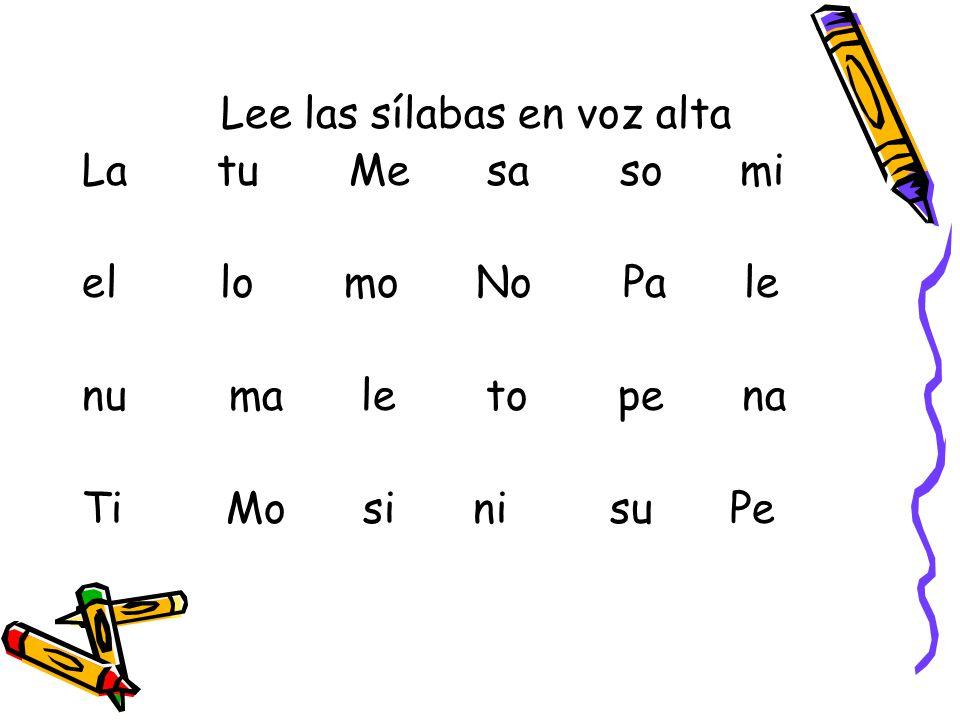 Lee las sílabas en voz alta La tu Me sa so mi el lo mo No Pa le nu ma le to pe na Ti Mo si ni su Pe