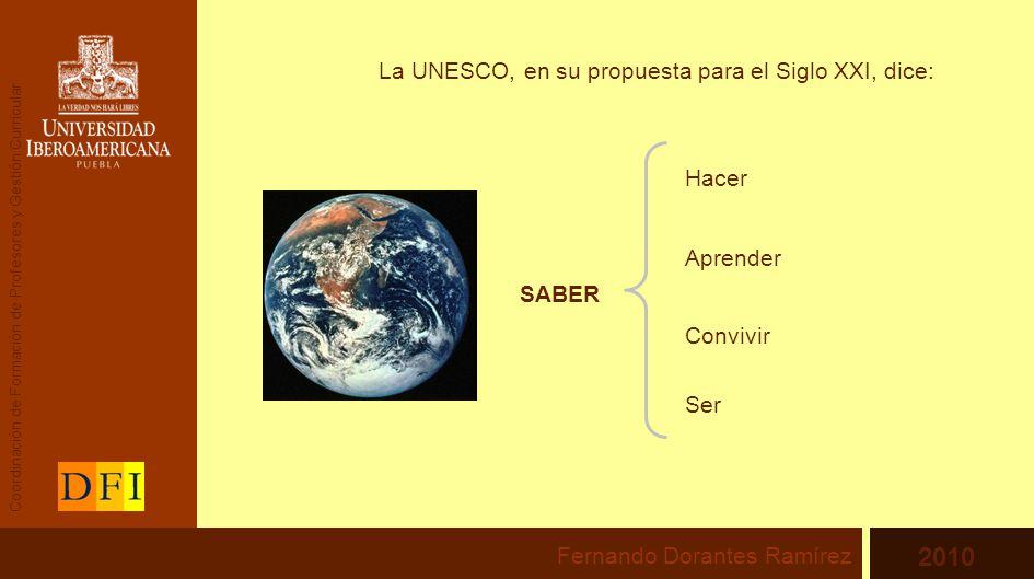 La UNESCO, en su propuesta para el Siglo XXI, dice: SABER Aprender Hacer Convivir Ser Fernando Dorantes Ramírez 2010 Coordinación de Formación de Profesores y Gestión Curricular