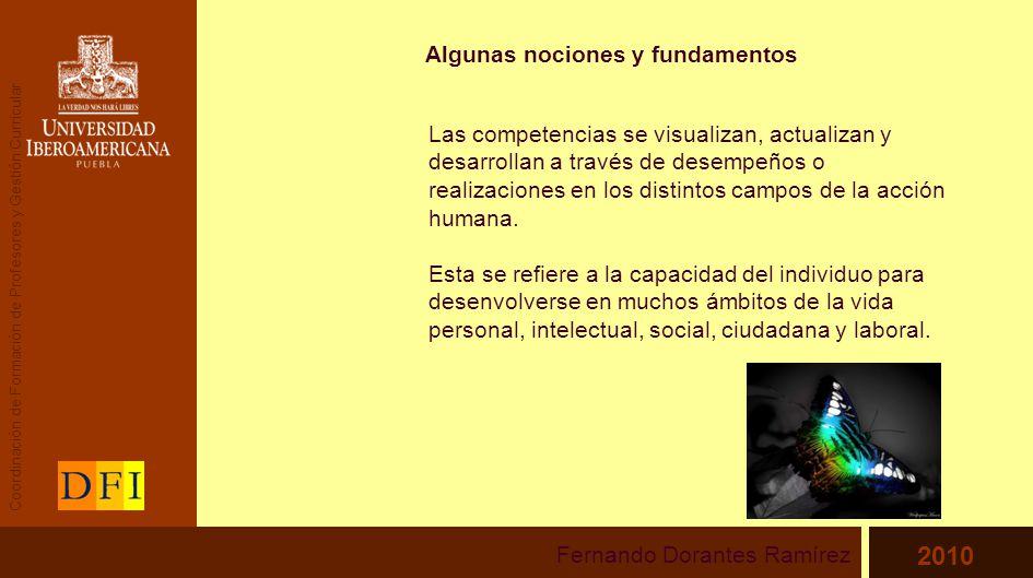 Algunas nociones y fundamentos Las competencias se visualizan, actualizan y desarrollan a través de desempeños o realizaciones en los distintos campos de la acción humana.