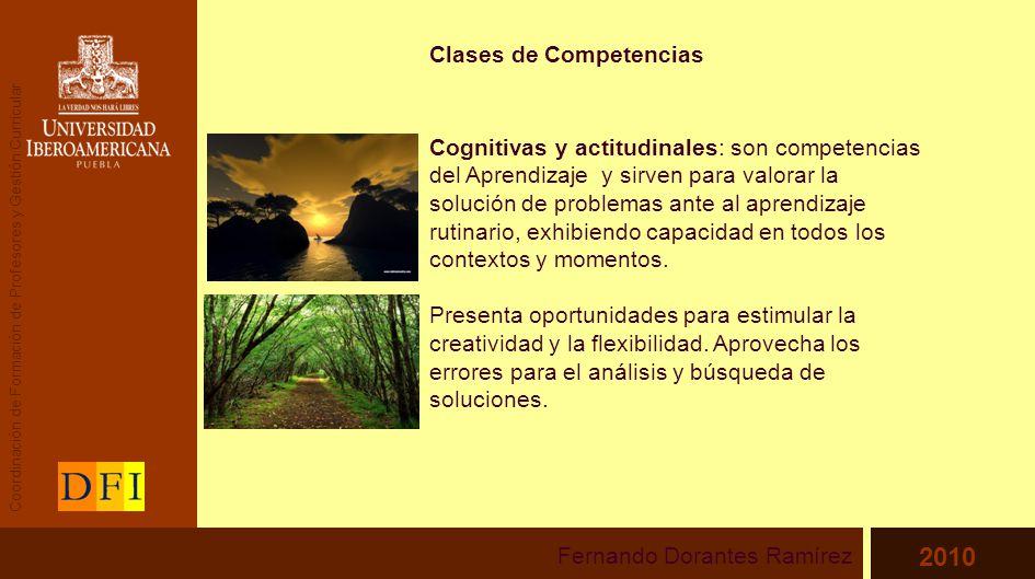 Clases de Competencias Cognitivas y actitudinales: son competencias del Aprendizaje y sirven para valorar la solución de problemas ante al aprendizaje rutinario, exhibiendo capacidad en todos los contextos y momentos.