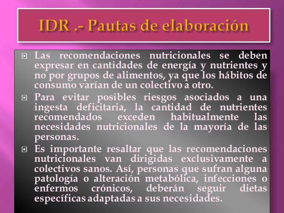  Además, en el cálculo de las recomendaciones nutricionales deben considerarse otros factores adicionales:  La biodisponibilidad y absorción de cada uno de los nutrientes, en función de la matriz alimentaria y la presencia de precursores en la misma.