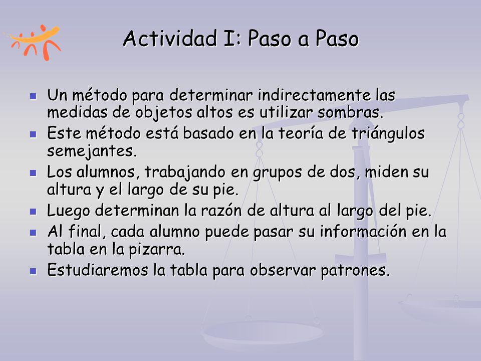 Actividad I: Paso a Paso Un método para determinar indirectamente las medidas de objetos altos es utilizar sombras. Un método para determinar indirect