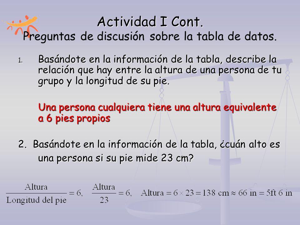 Actividad I Cont. 1. Basándote en la información de la tabla, describe la relación que hay entre la altura de una persona de tu grupo y la longitud de