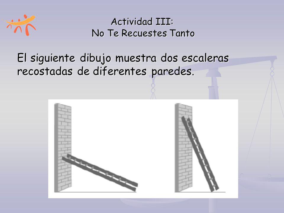 Actividad III: No Te Recuestes Tanto El siguiente dibujo muestra dos escaleras recostadas de diferentes paredes.