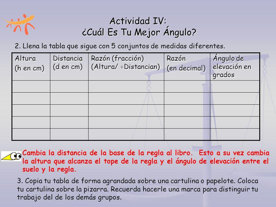 Actividad IV: ¿Cuál Es Tu Mejor Ángulo? Altura (h en cm) Distancia (d en cm) Razón (fracción) (Altura/  Distancian) Razón (en decimal) Ángulo de elev