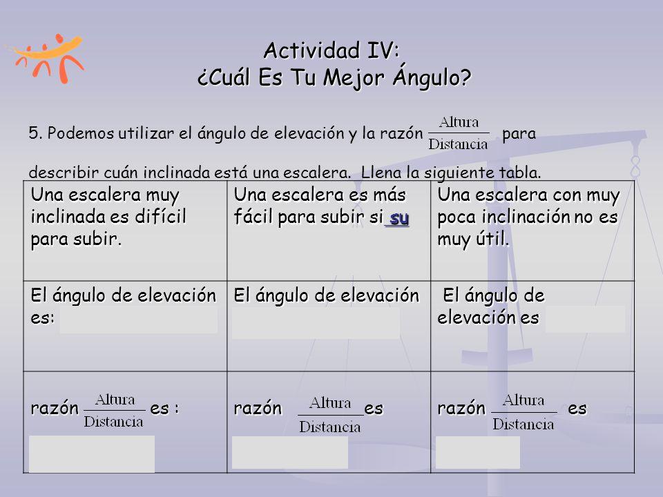Actividad IV: ¿Cuál Es Tu Mejor Ángulo? 5. Podemos utilizar el ángulo de elevación y la razón para describir cuán inclinada está una escalera. Llena l