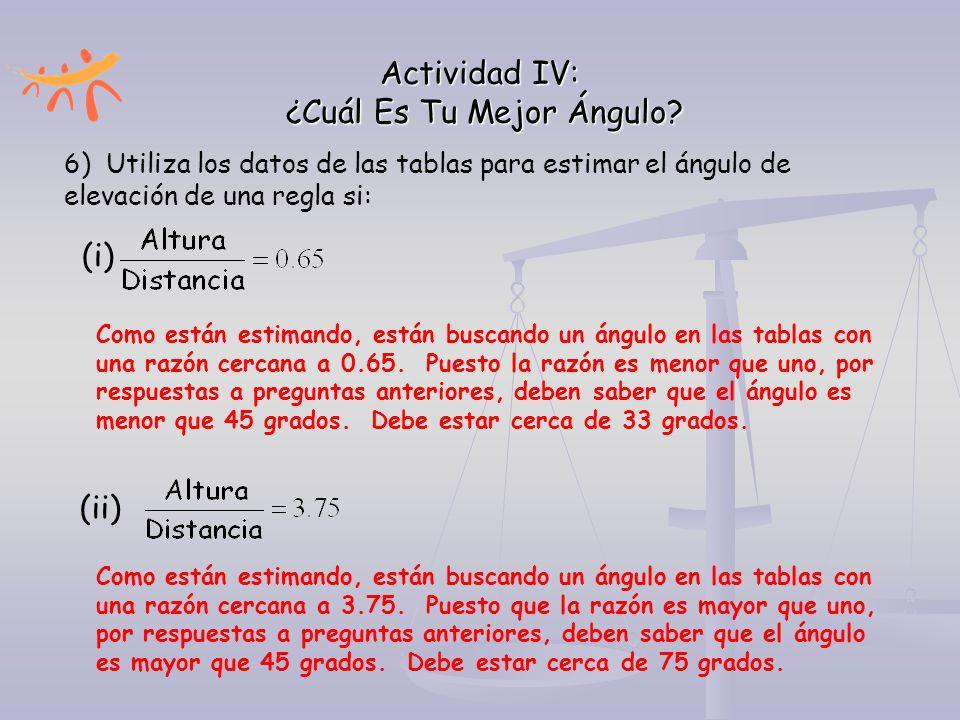 Actividad IV: ¿Cuál Es Tu Mejor Ángulo? 6) Utiliza los datos de las tablas para estimar el ángulo de elevación de una regla si: (i) Como están estiman