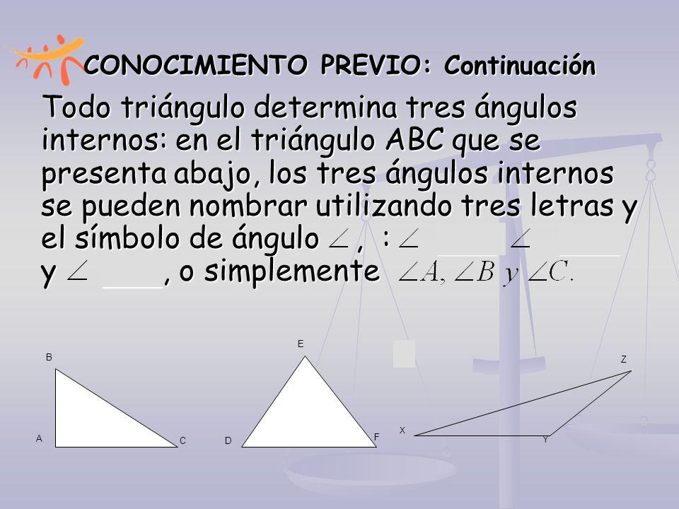CONOCIMIENTO PREVIO: Continuación Todo triángulo determina tres ángulos internos: en el triángulo ABC que se presenta abajo, los tres ángulos internos
