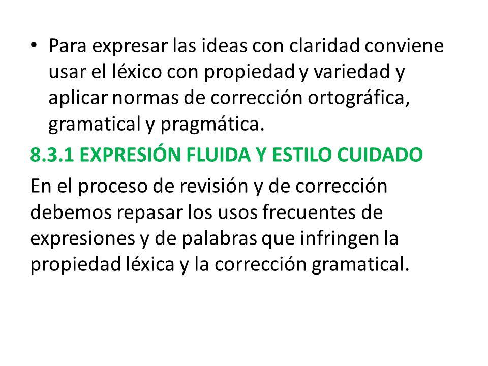 Para expresar las ideas con claridad conviene usar el léxico con propiedad y variedad y aplicar normas de corrección ortográfica, gramatical y pragmática.