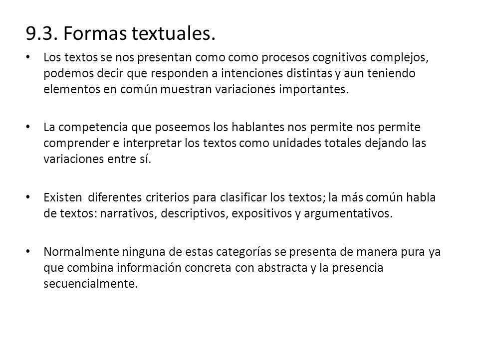 9.3.Formas textuales.
