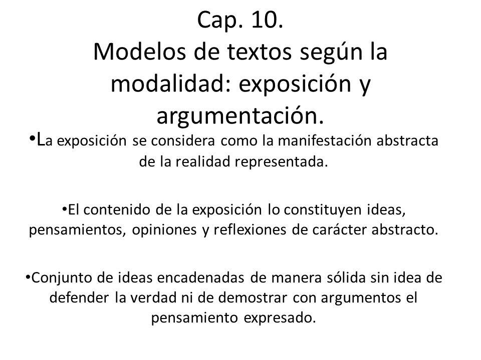 Cap.10. Modelos de textos según la modalidad: exposición y argumentación.