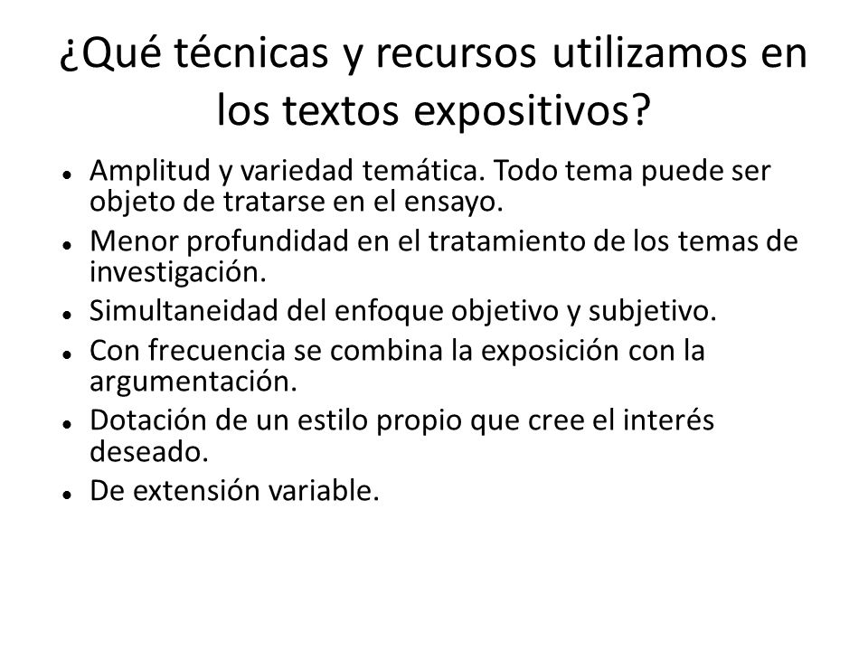 ¿Qué técnicas y recursos utilizamos en los textos expositivos.