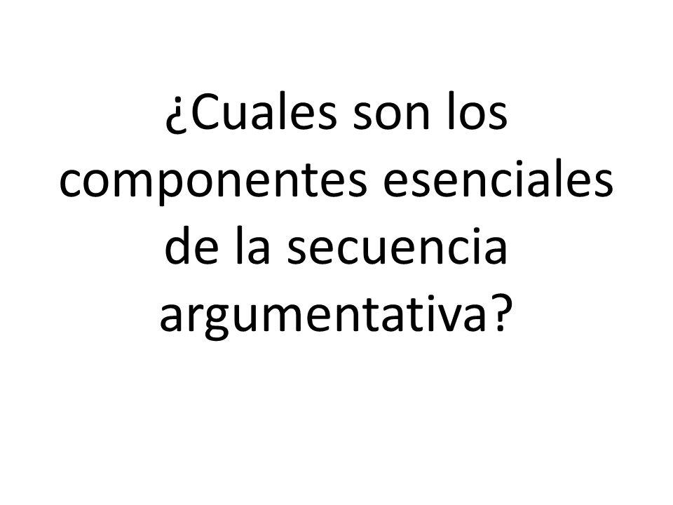 ¿Cuales son los componentes esenciales de la secuencia argumentativa?