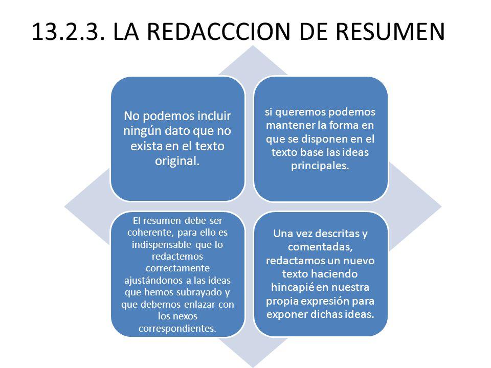 13.2.3.LA REDACCCION DE RESUMEN No podemos incluir ningún dato que no exista en el texto original.