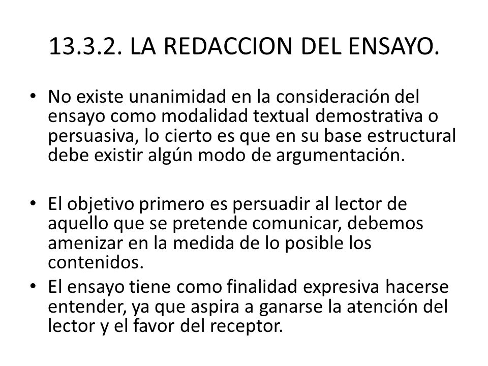 13.3.2.LA REDACCION DEL ENSAYO.