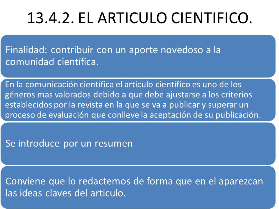 13.4.2.EL ARTICULO CIENTIFICO.