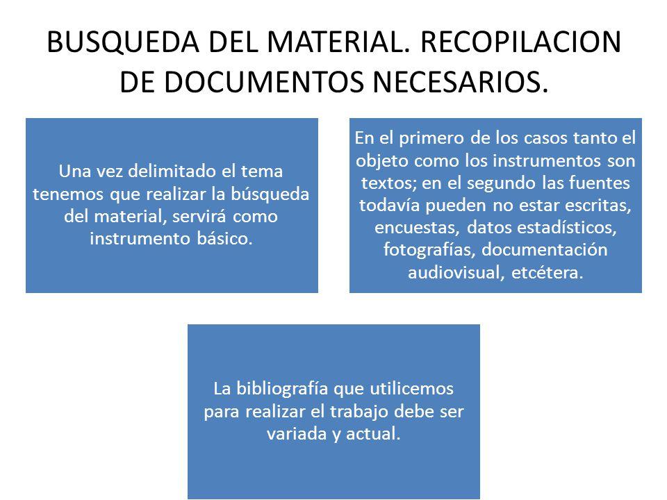BUSQUEDA DEL MATERIAL.RECOPILACION DE DOCUMENTOS NECESARIOS.