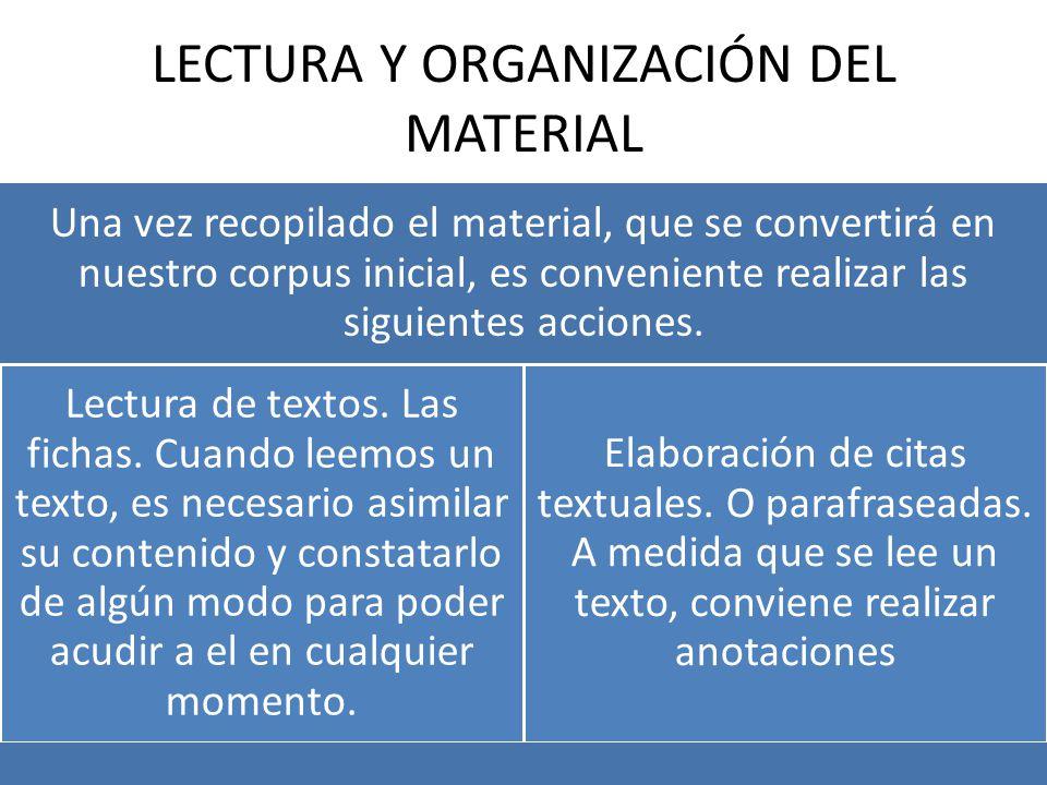 LECTURA Y ORGANIZACIÓN DEL MATERIAL Una vez recopilado el material, que se convertirá en nuestro corpus inicial, es conveniente realizar las siguientes acciones.
