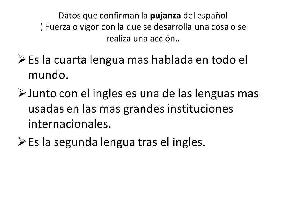 Datos que confirman la pujanza del español ( Fuerza o vigor con la que se desarrolla una cosa o se realiza una acción..