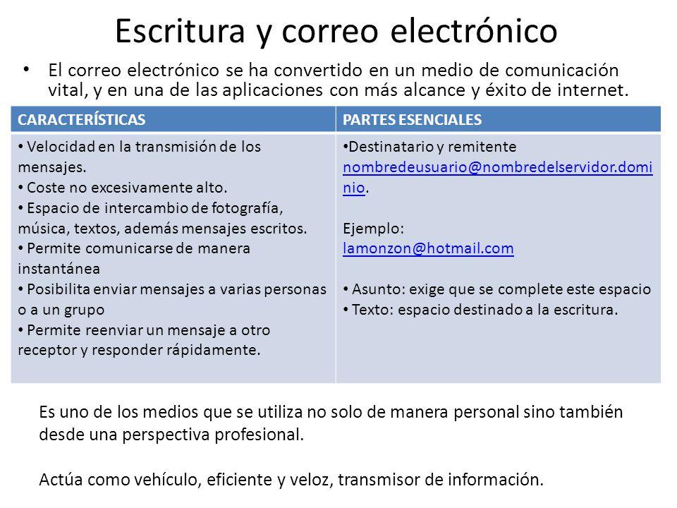 Escritura y correo electrónico El correo electrónico se ha convertido en un medio de comunicación vital, y en una de las aplicaciones con más alcance y éxito de internet.