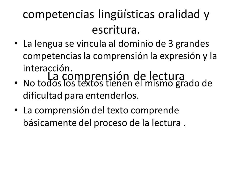 competencias lingüísticas oralidad y escritura.