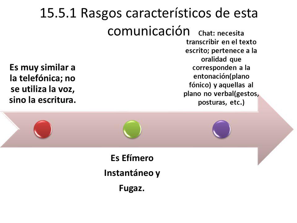 15.5.1 Rasgos característicos de esta comunicación Es muy similar a la telefónica; no se utiliza la voz, sino la escritura.