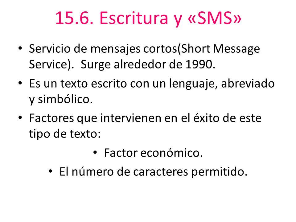 15.6.Escritura y «SMS» Servicio de mensajes cortos(Short Message Service).