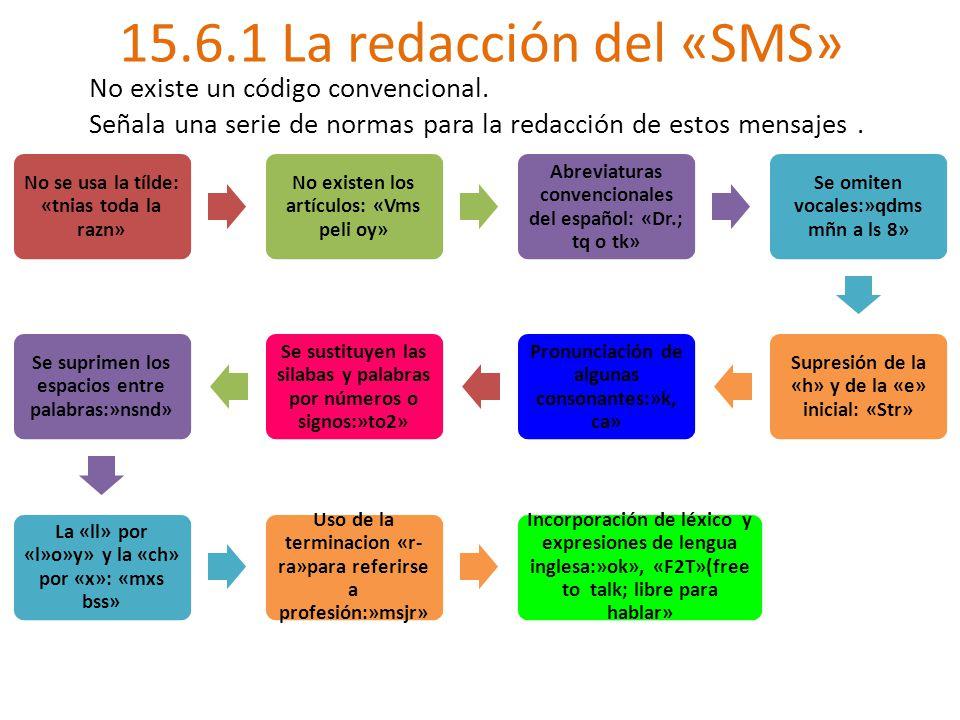 15.6.1 La redacción del «SMS» No se usa la tílde: «tnias toda la razn» No existen los artículos: «Vms peli oy» Abreviaturas convencionales del español: «Dr.; tq o tk» Se omiten vocales:»qdms mñn a ls 8» Supresión de la «h» y de la «e» inicial: «Str» Pronunciación de algunas consonantes:»k, ca» Se sustituyen las silabas y palabras por números o signos:»to2» Se suprimen los espacios entre palabras:»nsnd» La «ll» por «l»o»y» y la «ch» por «x»: «mxs bss» Uso de la terminacion «r- ra»para referirse a profesión:»msjr» Incorporación de léxico y expresiones de lengua inglesa:»ok», «F2T»(free to talk; libre para hablar» No existe un código convencional.